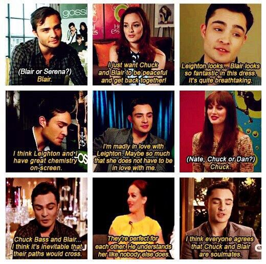 Leighton Meester and Ed Westwick on the Chuck and Blair's relationship❤️ aw aw aw
