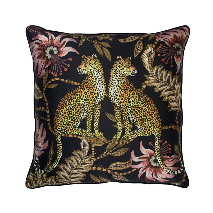 Lovebird Leopard 100% silk african design cushion in Night