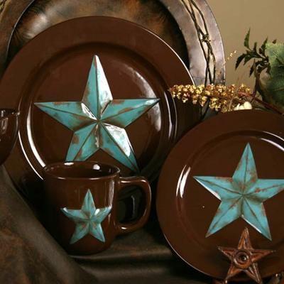 16 Pc Rustic Western Barn Star Dinnerware Set
