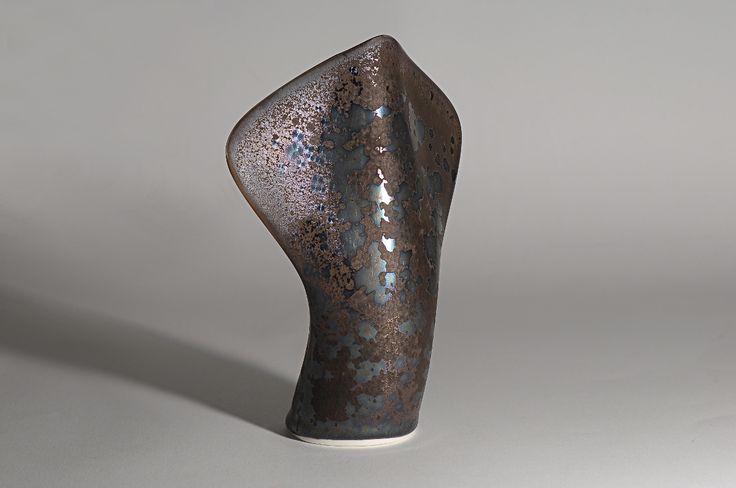 Peter Biddulph - Sake Flask Hybrid 1 - Southern Ice Porcelain - Iridescent Crystalline Glaze