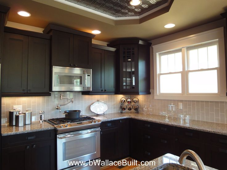 kitchen backsplash for dark cabinets cabinets light granite countertops and grey vertical 7688