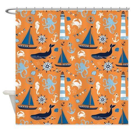 Nautical Ocean Orange Shower Curtain on CafePress.com
