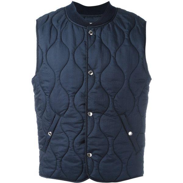 Maison Kitsuné quilted gilet (€370) ❤ liked on Polyvore featuring men's fashion, men's clothing, men's outerwear, men's vests, blue, mens quilted vest, mens sleeveless vest and mens blue vest