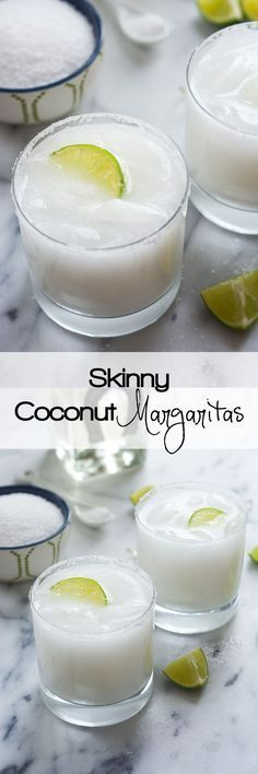 A tropical spin on the classic drink! These Skinny Coconut Margarita are made with lite coconut milk, coconut water, tequila blanco and triple sec for a refreshing cocktail! {wineglasswriter.com/}