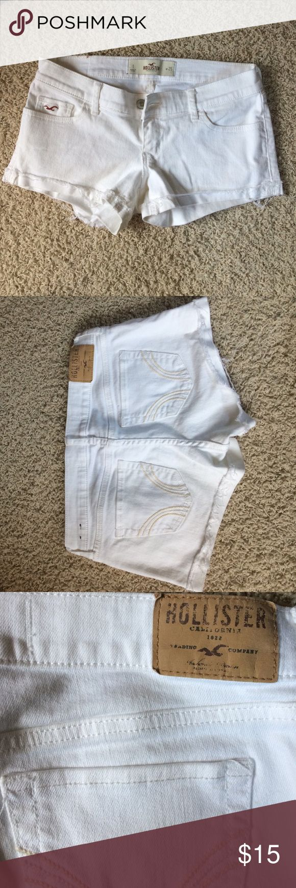 White hollister shorts White cuffed hollister shorts low rise Hollister Shorts Jean Shorts