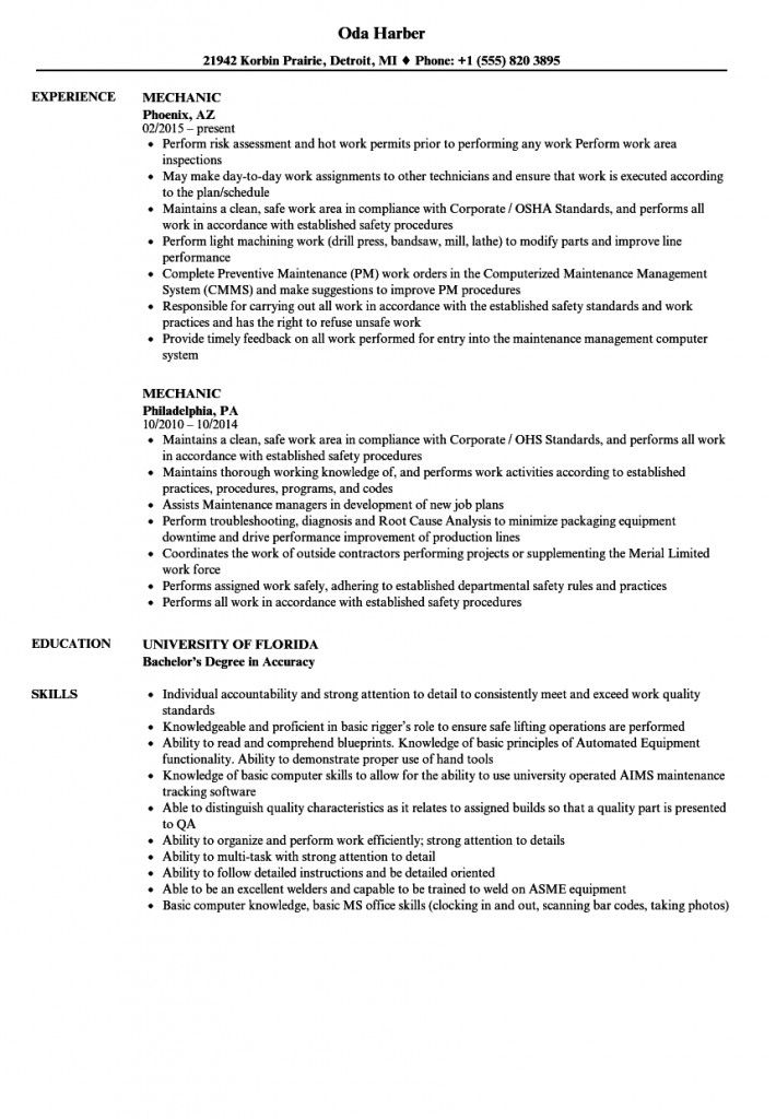 Resume Examples Mechanic 2021 In 2021 Resume Examples Resume Summary Examples Resume Objective Examples