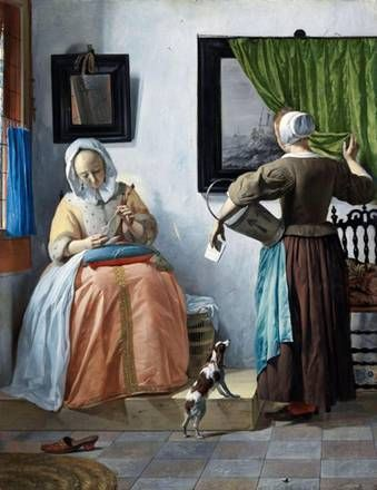 Johannes Vermeer. There is so much hidden meaning here, and a great sense of theatrics with the stage and curtain. One of my favourite Vermeers