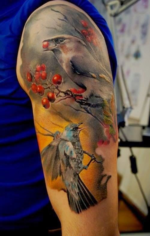 Men Hand With Sparrow Eating Tattoo, Sparrow Eating Design Tattoo For Men Hand, Women Hands With Eating Sparrow Tattoo, Sparrow Birds Eating Tattoo For Women