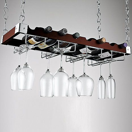Hanging Against The Wall In Kitchen Espresso Bottle And Stemware Ceiling Rack At Wine Enthusiast 79 95 A Place To Call Home Gl