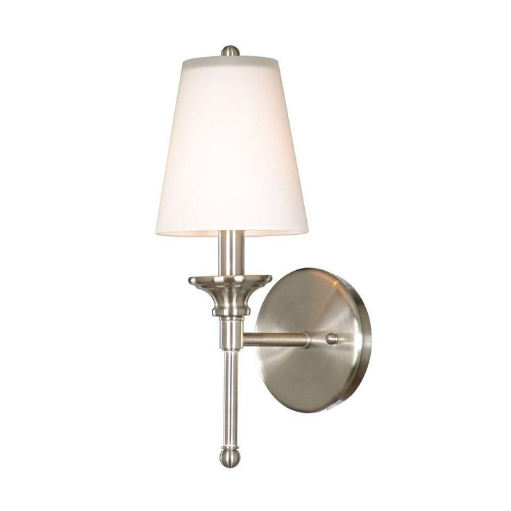 "Guest bathroom: Hampton Bay Sadie 1-light wall sconce with glass shade in satin nickel (Model # 19574-011, Store SKU # 724245) 5""W x 14""H x 6.5""D $30"