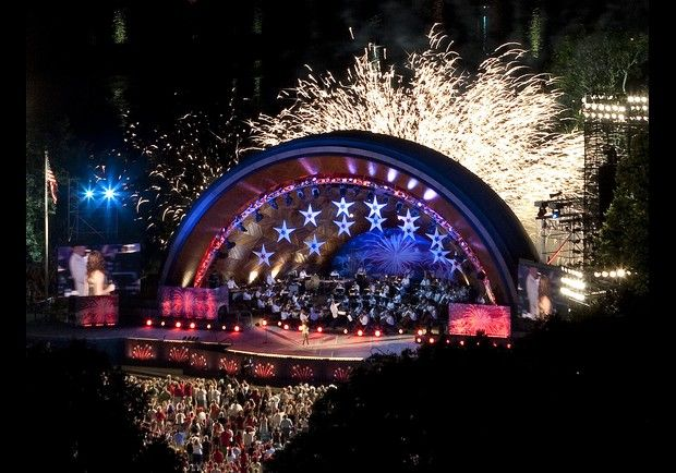 Hatch Shell, July 4th, Boston Pops, fireworks, Boston, MA