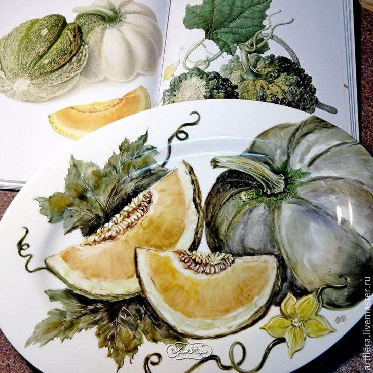 """Купить Роспись фарфора.Блюдо """"Тыква"""" - желтый, тарелка, блюдо, блюдо для фруктов, блюдо керамическое"""