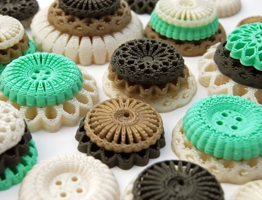 Spirograph-inspired 3D printed buttons are made from renewable resources through fused deposition modeling (FDM)