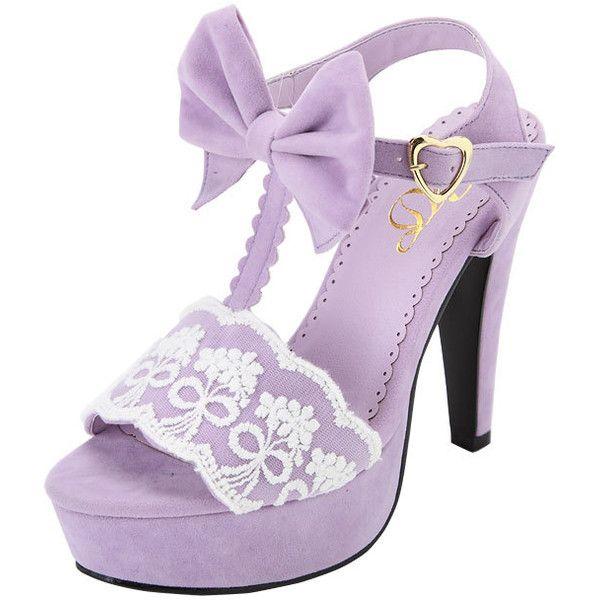 [ブーケレースT字サンダル|P]【AJTM-S1】【AJTM-SS】【DKS8-S9】|夢展望 ❤ liked on Polyvore featuring shoes, sandals, heels, purple, purple sandals, heeled sandals, purple shoes and purple heel shoes