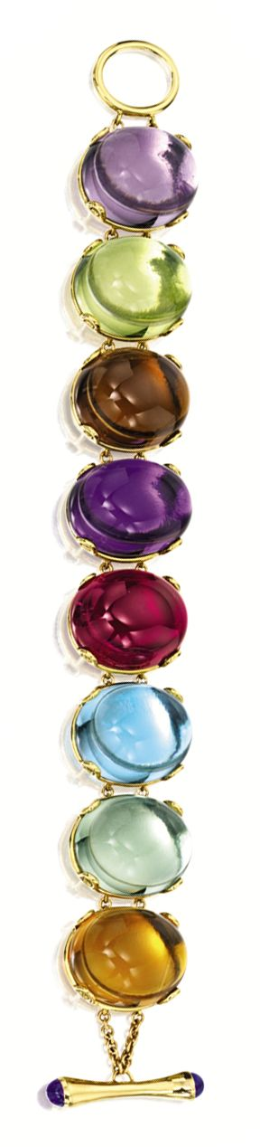 GEM-SET BRACELET, GOSHWARA.  Composed of eight oval cabochon gem-set links set with amethyst, rubellite, blue topaz, lemon quartz, smoky quartz, prasiolite and citrine together weighing approximately 202.60 carats, mounted in 18 karat yellow gold, length approximately 175mm, signed.