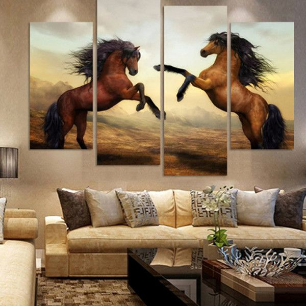 Modern Home for living room art wall Decor horse Oil painting printed on canvas