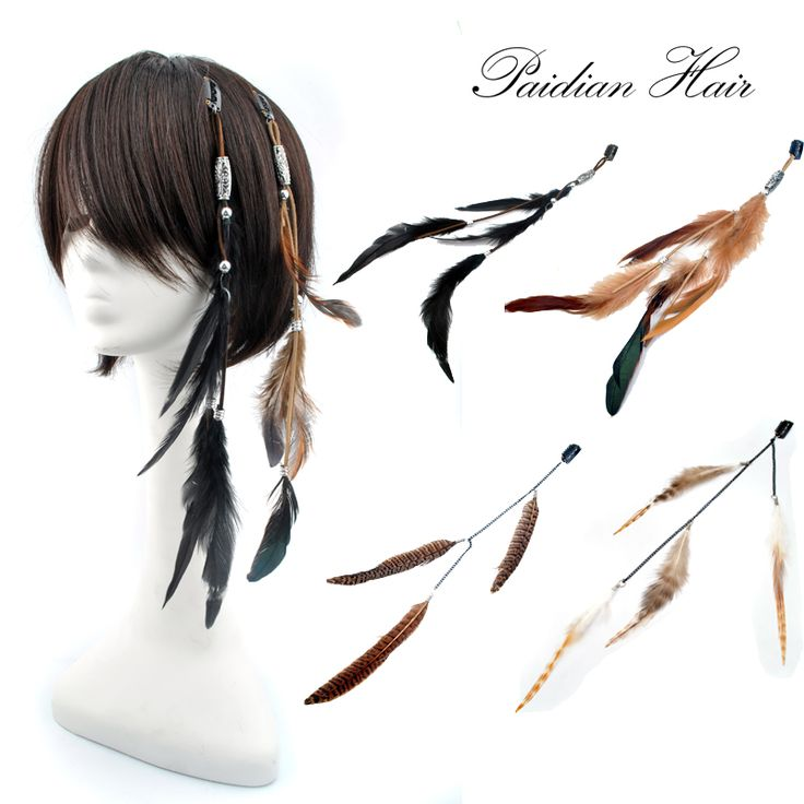 Bar Party Cosplay Bohemia Natural COCK Duck  Feather Clip In Feather Hair Extension Base On Chain