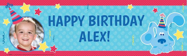 Blue's Clues Personalized Photo Vinyl Banner from BirthdayExpress.com