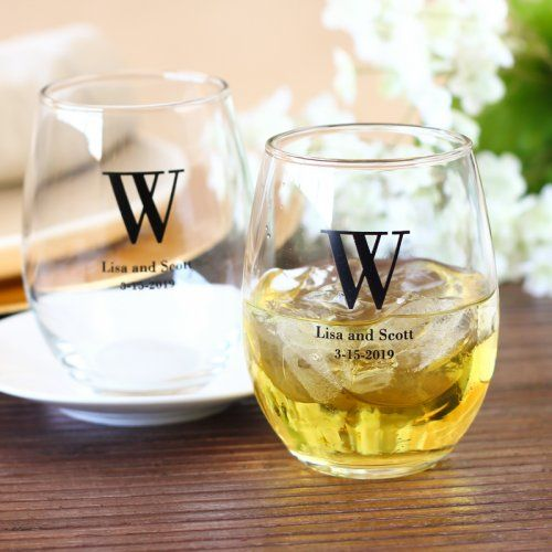 Recommended by my aunt at Retro Junque! Personalized Bridal Stemless Wine Glasses by Beau-coup