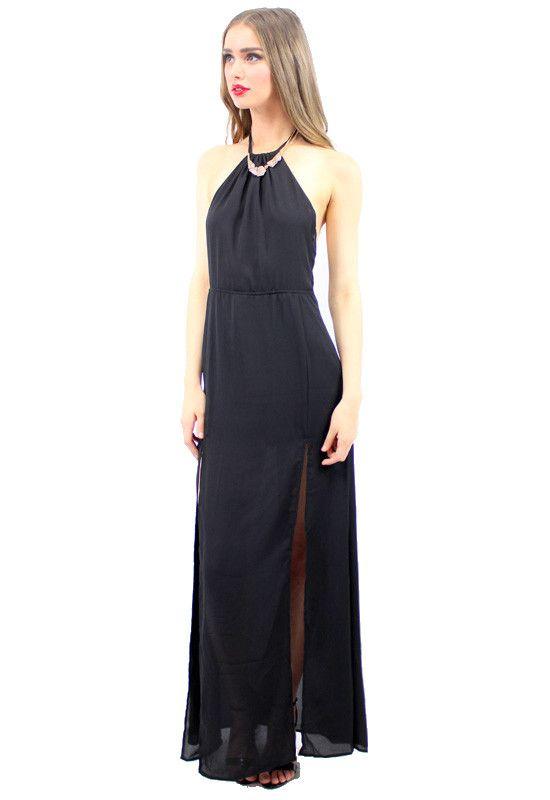 LONI MAXI DRESS BLACK  STYLE DETAILS:  Black lightweight maxi dress Halter style neck line Racerback with drawstring Structured around the waist Flowy skirt with two slits up front  FIT DETAILS:  Snug fit around waist, buy a size-up Hidden zipper Standard Australian sizing  STYLING:  Wear this black maxi dress on an evening beach walk or to a cocktail party, it's perfect no matter where you go!