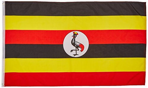 Uganda Flag 3X5 Foot E Poly:   This 3x5 foot Uganda flag is made from light-weight polyester fabric with a heavy-duty bright white canvas heading. This flag has two brass grommets in the header to use when securing it to the rope of an outdoor flagpole using flag snaps. (Imported)