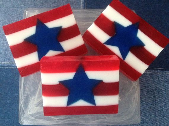 American Flag Soap - handcrafted glycerin soap, patriotic soap, 4th of July soap, stars and stripes