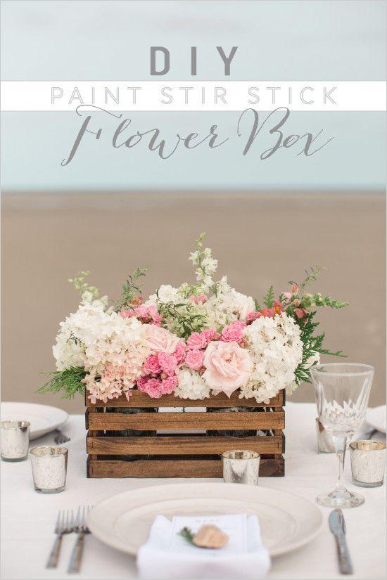 DIY Paint Stir Stick Flower Box   wedding diy   centerpiece ideas   wedding florals   #weddingchicks
