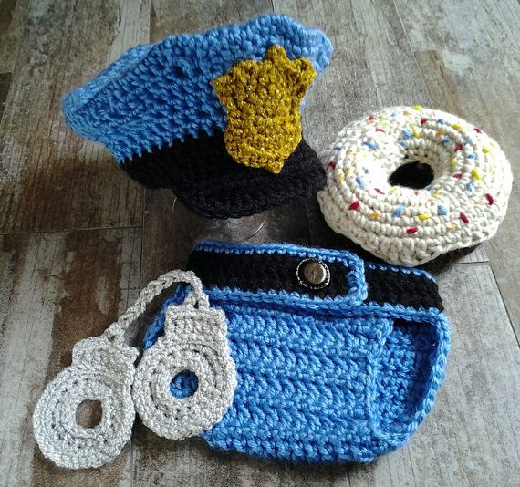 Crochet Police Hat Diaper Cover Handcuffs and Donut by CoziYarnOwl
