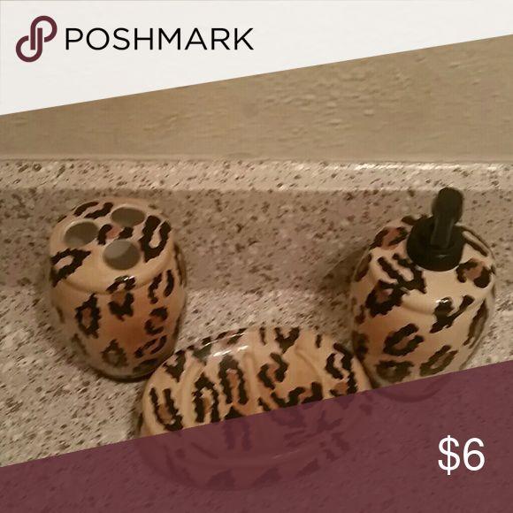 Barsoap holder, handwash dispenser and toothbrush I'm selling cheetah print 3pc  bathroom dispenser set none Other