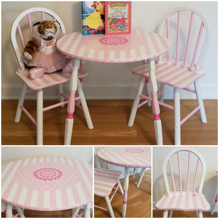 This Children S Table And Chairs Set Has Been Refinished By It S Flippin Vintage Painted In Light And Dark Pink With White Adorable And R Kids Table Chairs Home Depot Adirondack Chairs