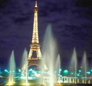 Eiffel amidst fountains soon...