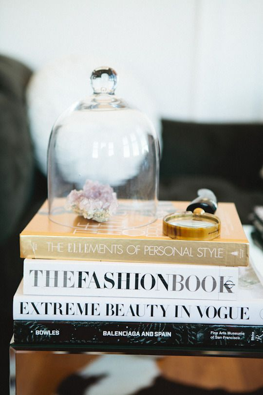 rock love. Crystal's House Tour via AT.: Decor, Belle Jars, Coffee Tables Books, Glasses Domes, Apartment Therapy, Fashion Books, Houses Tours, Glasses Cloche, Coff Tables Books