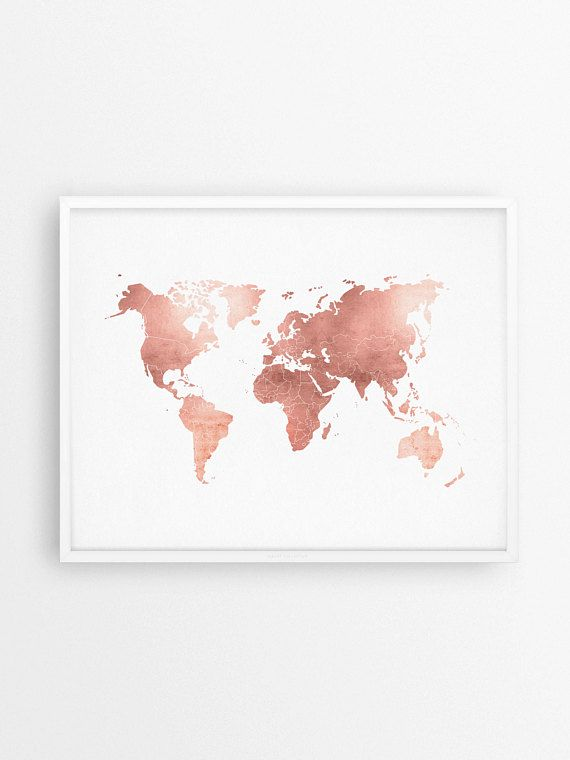 Rose Gold Map, World Map Print, Rose Gold Office, Rose Gold Decor, Modern Office Prints, Rose Gold Wall Art, Rose Gold Art, Adventure Awaits
