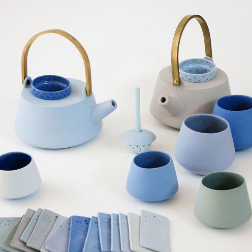 Elke Van der Berg blue ceramic tea set.