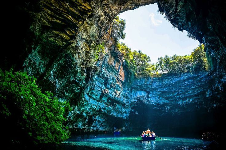 Melissani Cave in Ithaca, Greece – according to ancient Greek mythology, this was the cave of the nymphs. The cave extends to an area of 2.5 km.
