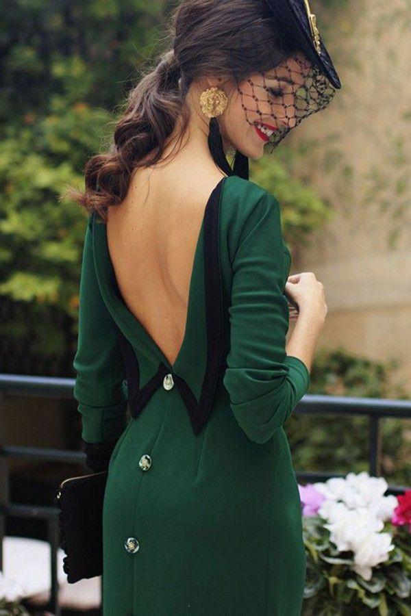 a7501fa99cb Green V Back Button Slit Long Sleeve Sexy Maxi Dress  049899   Long Sleeve  Dresses