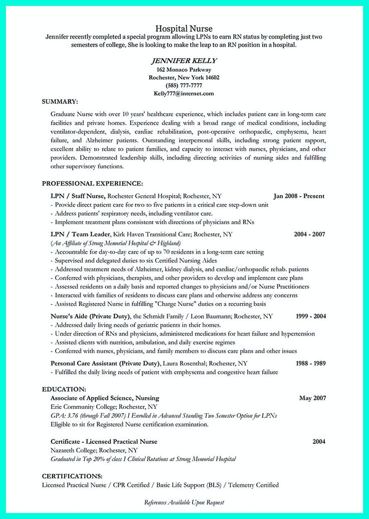2695 best Resume Sample Template And Format images on Pinterest - lpn sample resume