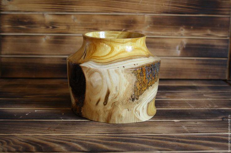 Купить деревянная ваза из шелковицы - желтый, посуда, посуда из дерева, Деревянная посуда, ваза для цветов