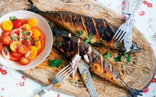 Gizzi Erskine's devilled mackerel with tomato and shallot salad # ...