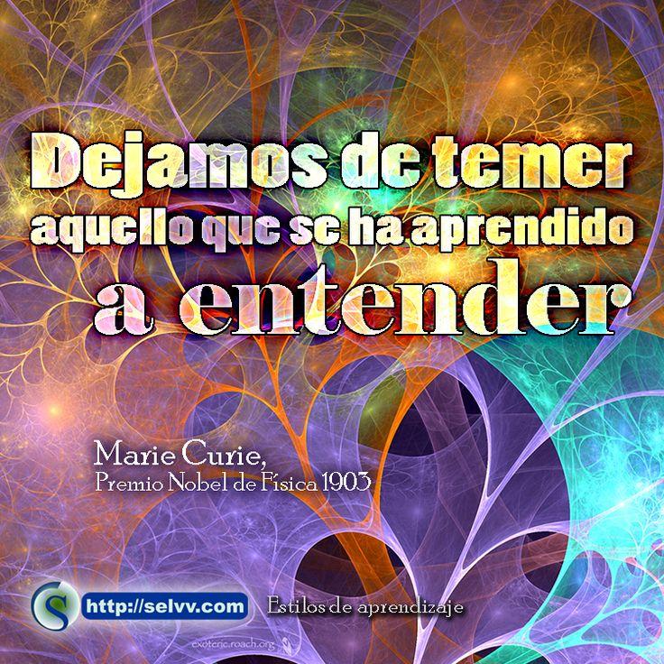 Dejamos de temer aquello que se ha aprendido a entender. Marie Curie, Premio Nobel de Física 1903 http://selvv.com/estilos-de-aprendizaje/
