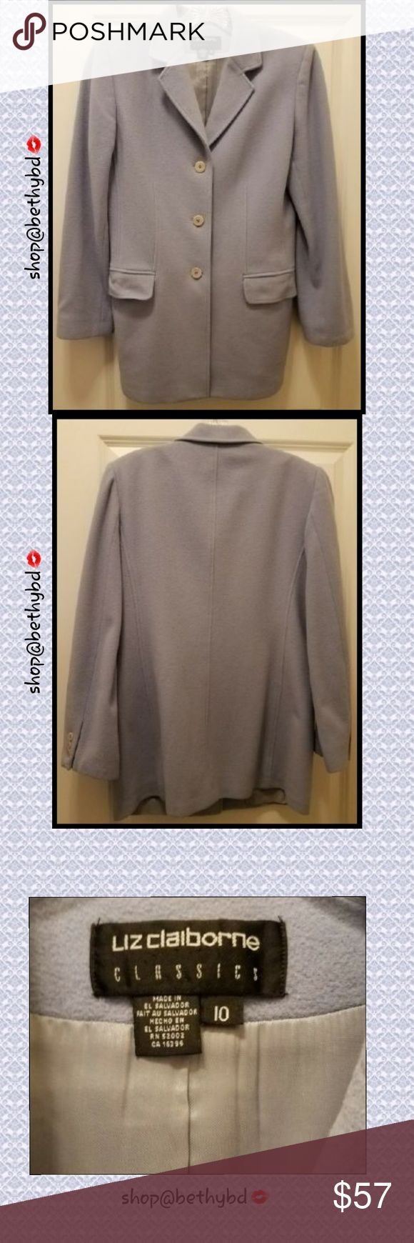 "🆕️Vintage EUC Liz Claiborne Classics Sz10 Blazer JUST ADDED⏩🎁🎀  ""Baby Blue"" jacket/blazer.   This is Vintage Liz Claiborne   FABRIC: ☄Luxury Cashmere/Wool blend Dry cleans beautifully  Excellent Used Condition (EUC)  Size 10 ladies blazer/jacket  Pair it with pants, a skirt or maybe even leggings  Underarm to underarm measurement laying flat is approximately 18"" (see pics in listing above)  Jacket length from shoulder to hem is approximately 29"". (See pics in listing above ) It is a…"