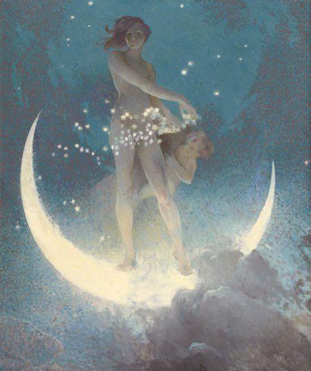 hoodoothatvoodoo:    Edwin Howland Blashfield  'Spring Scattering Stars'  1927