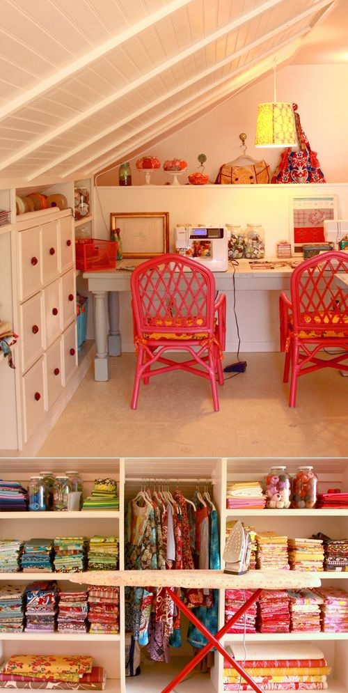 nice use of attic space. this example is a craft room but this kind of organisational set-up would work well for a children's room too.