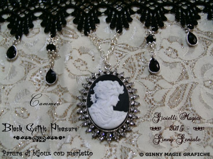 "Cameo part of the very chic full set of bijoux and lace named: ""Black Gothic Pleasure"" handmade by Ginny Geniale, in nichel free metal, silver colour, black and white cameo, rhinestones.  Anello che fa parte della Parure di bijoux e merletto elegantissima intitolata: ""Black Gothic Pleasure"" realizzata a mano da Ginny Geniale, in metallo anallergico color argento senza nichel, con cameo bianco e nero e strass."