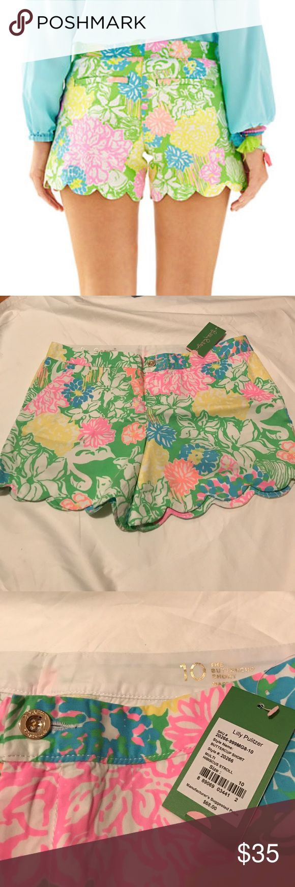 "Lilly Pulitzer Buttercup Shorts in Hibiscus Stroll A scalloped short is the perfect way to update your collection. We love the Buttercup Shorts because of the fit and feel. They are 5 inch shorts just like the beloved Callahan's but this style has a scalloped hem; a chic and girly addition. 5"" Inseam, Garment Washed, Zip Fly Short With Scallop Hem. Printed Beach Twill (100% Cotton). Machine Wash Cold. Imported. Lilly Pulitzer Shorts"