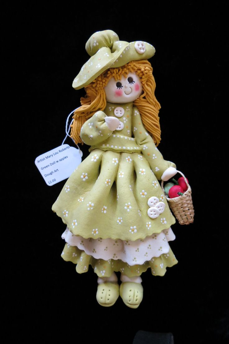 Green Dough Art Doll with apples