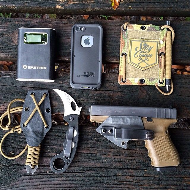 """glockfanatics: """"Lots of badass companies represented here. Love this EDC. (posted by @staythecourse_) #glockfanatics #glockporn #glockmods #glockperfection #staythecourse #veilsolutions """""""