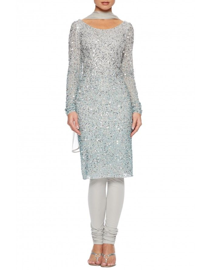 Silver beaded churidar suit - For a fusion adaptation to the shalwar kameez wear this beautiful hand beaded churidar dress suit with stones and sequins all over. Wear as a cocktail dress for glam nights out or as an asian suit with matching churidar and and net stole for formal dress occassions.