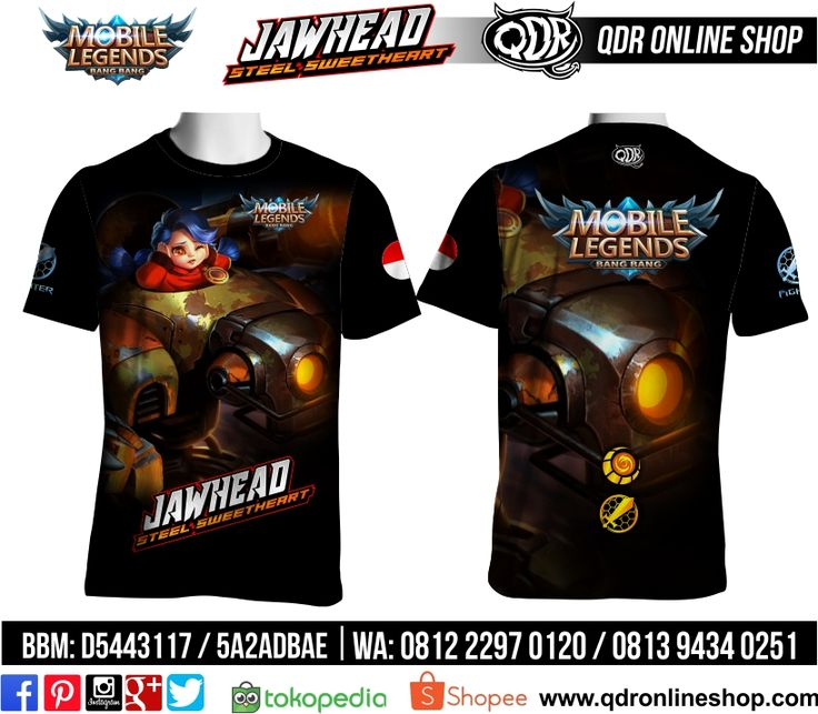 T-Shirt Mobile Legends Jawhead Skin Steel Heart untuk pemesanan: BBM D5443117 / 5A2ADBAE (Qdr online shop) WA/LINE 081222970120 / 08129434025 www.qdronlineshop.com