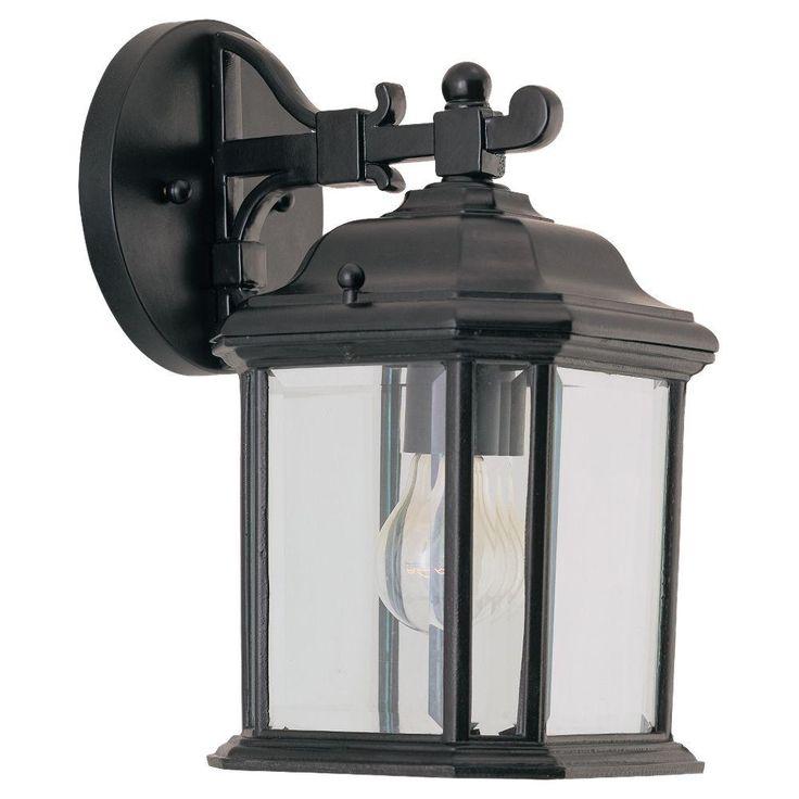 Sea Gull Lighting Kent Small 1-Light Black Outdoor Wall Mount Lantern